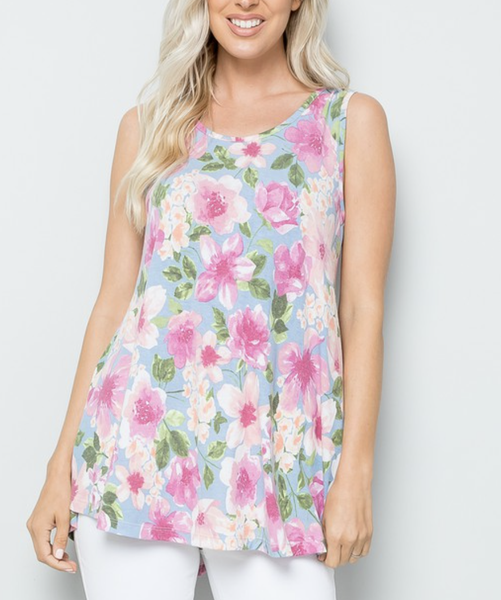Sleeveless Floral Top with Back Lace Detail