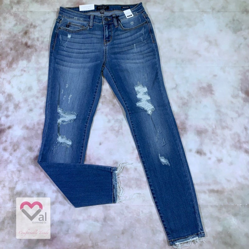 Judy Blue Mid Rise Destroyed Hem Skinny Jean