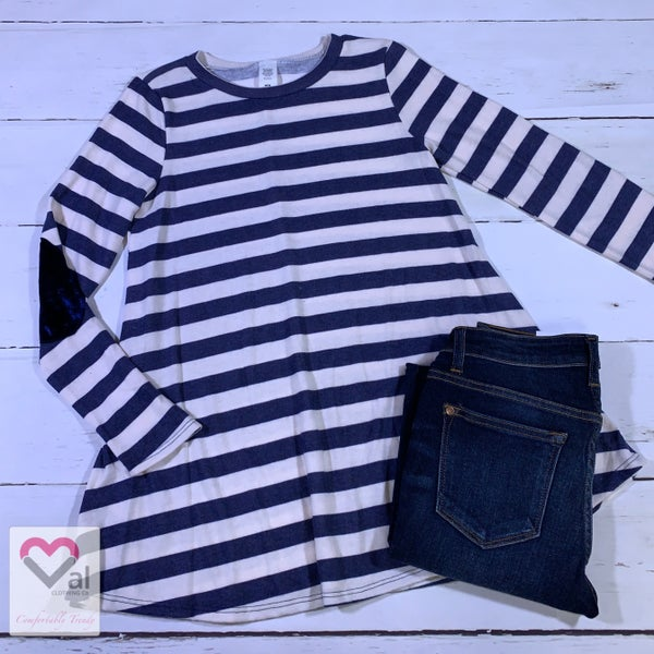Long Sleeve Striped Top with Velvet Elbow Patch Detail
