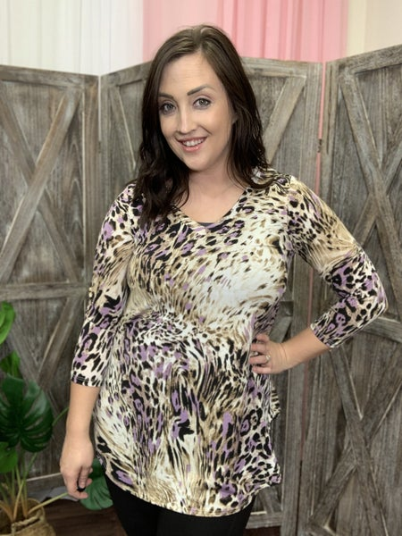 3/4 Sleeve V Neck Multi Animal Print Top