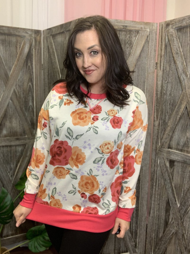 Long Sleeve Painted Floral Top with Trim Detail