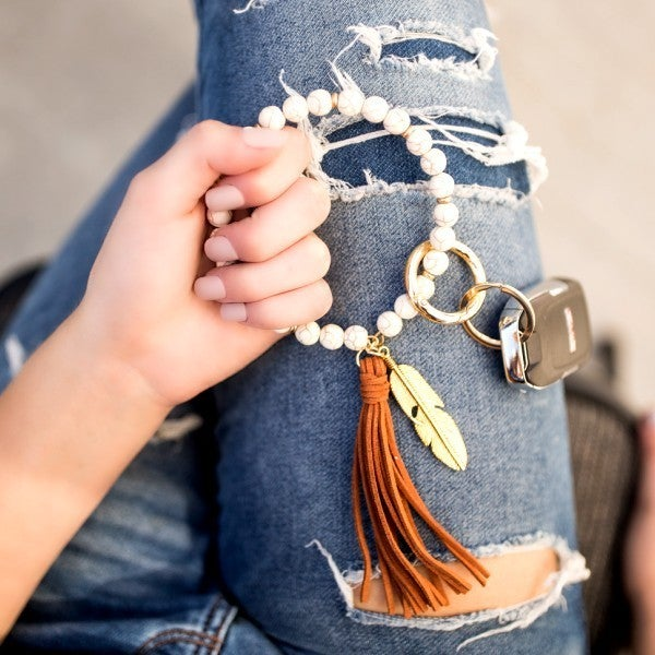 Boho Stone & Tassel Keychain Ring Bangle