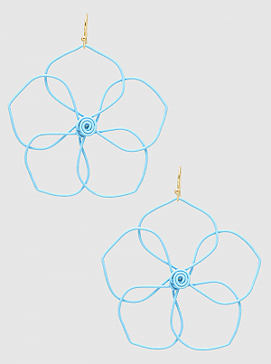 Color Coated Wire Floral Flower Dangle Drop Earrings