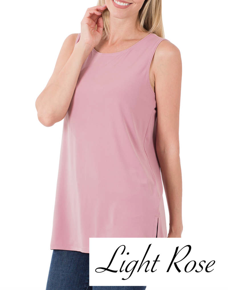 Sleeveless Round Neck Solid Top with Side Slits