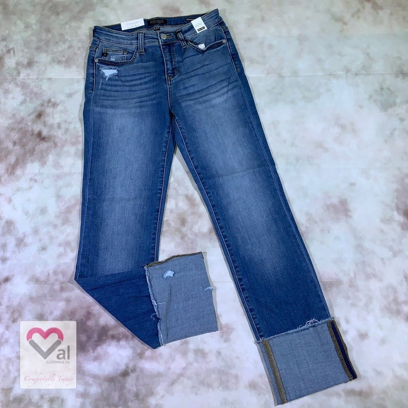 Judy Blue High Waist Raw Hem Cuff Straight Leg Jeans