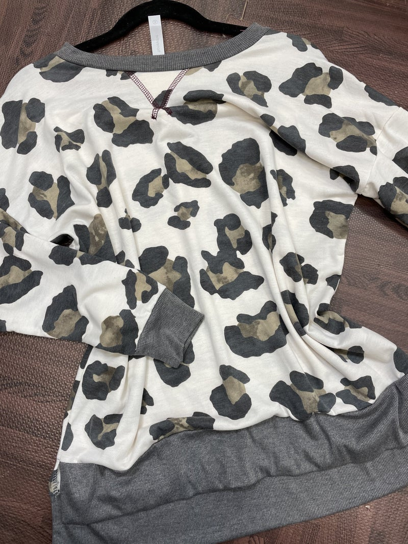 Long Sleeve Large Animal Print Top with Slit Detail