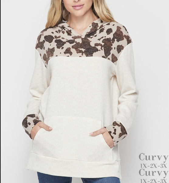 Long Sleeve Cow Print & Solid Hoodie Top