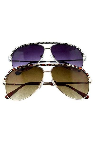 Safari Animal Printed Aviator Sunglasses