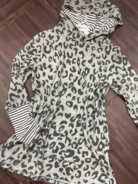 Long Sleeve Wildcat Hoodie Top with Stripe Contrast Detail