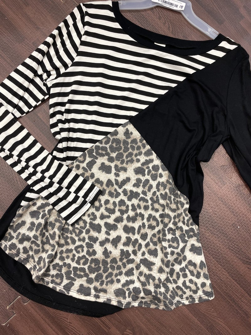 Long Sleeve Stripe, Leopard, and Solid Print Top