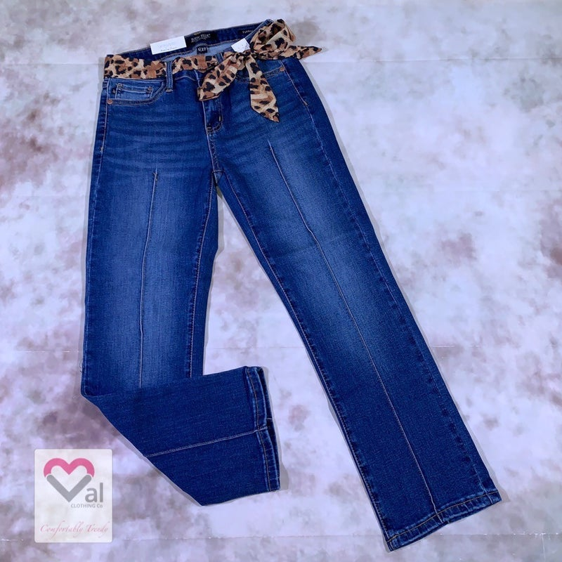 Judy Blue Mid Rise Mid Stitch Straight Crop Jeans with Belt