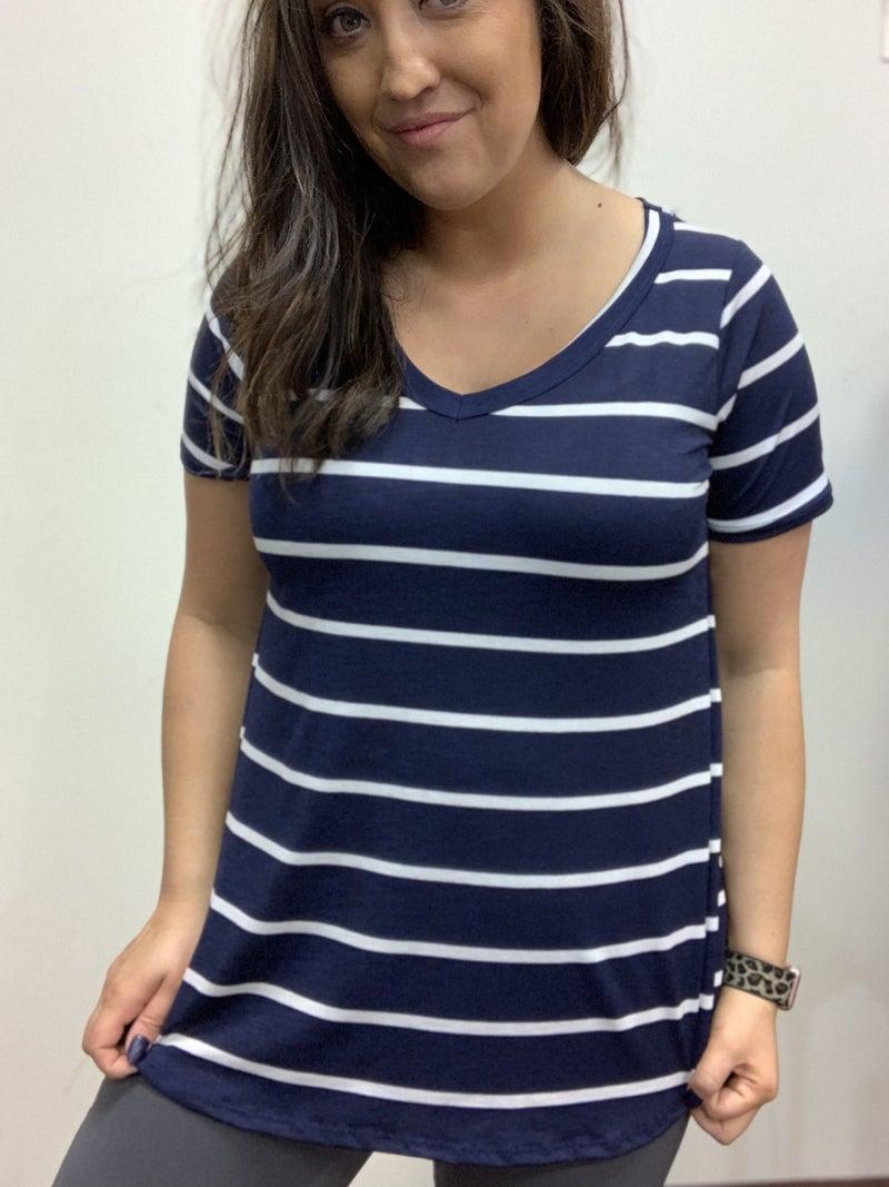 Short Sleeve V Neck Stripe Top
