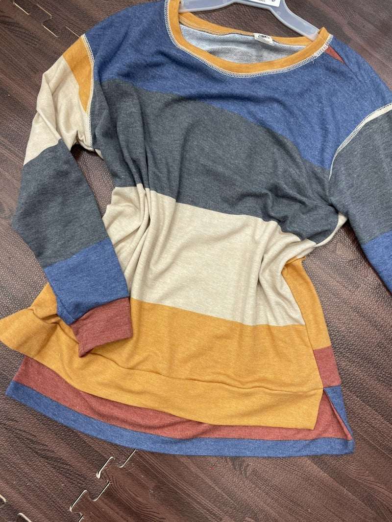 Long Sleeve Stripe Top with Stitch Detail