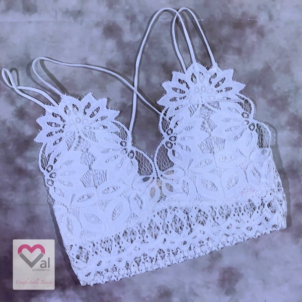 Double Strap Lace Lined Bralette - White