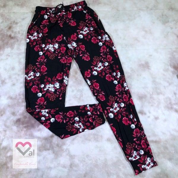 Leggings Material Pink Floral Printed Joggers