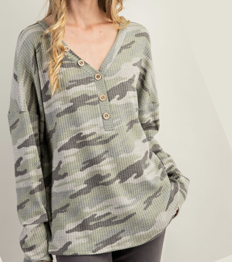 Long Sleeve V Neck Camo Top with Button Detail