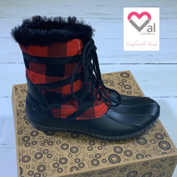 Red and Black Plaid Tie Duck Boots with Faux Fur Trim and Inside