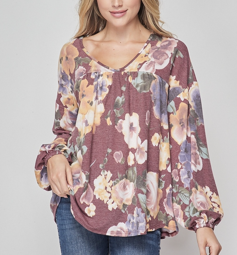 Long Bubble Sleeve V Neck Flowy Floral Top