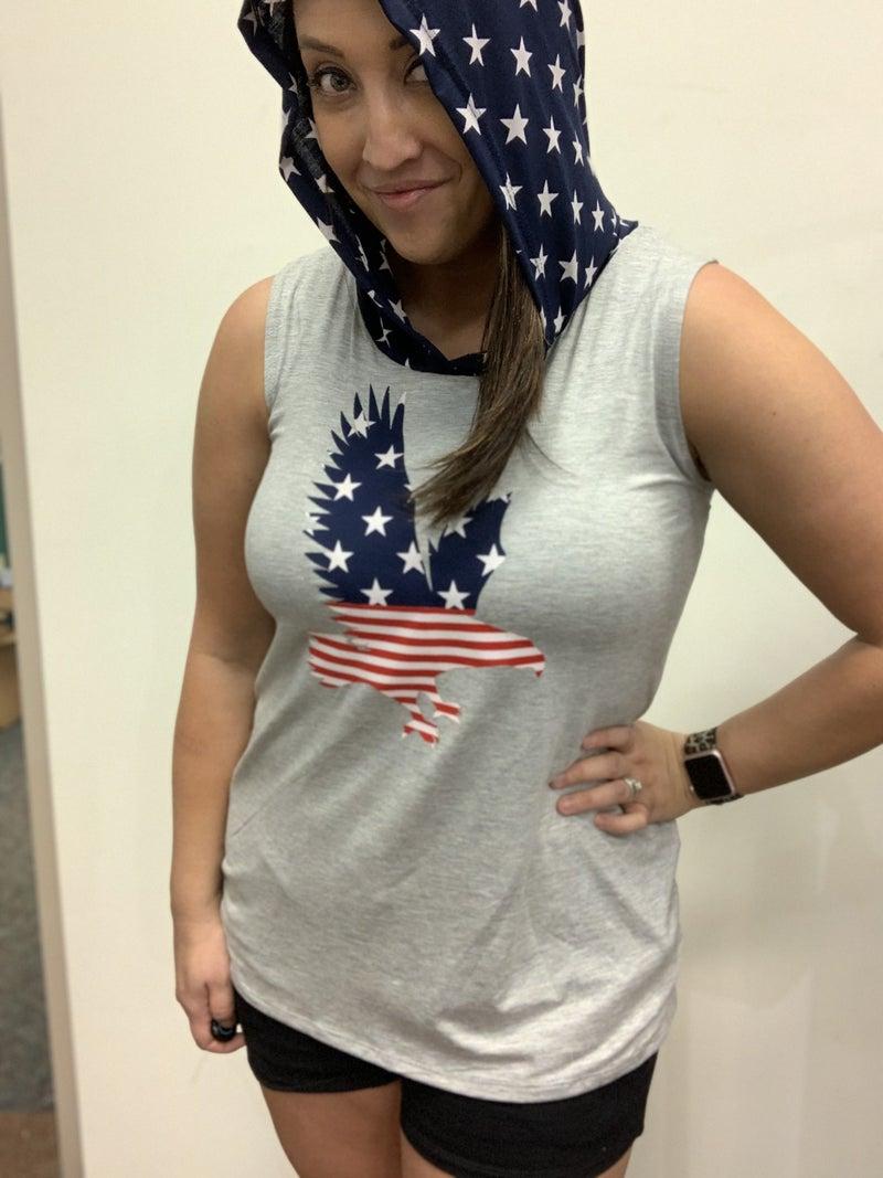 Sleeveless Americana Eagle Hoodie Top