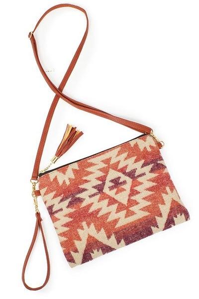 Western Print Crossbody Clutch Bag