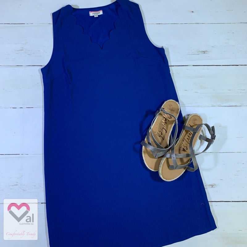 Sleeveless Solid Dress with Scallop Neck Detail