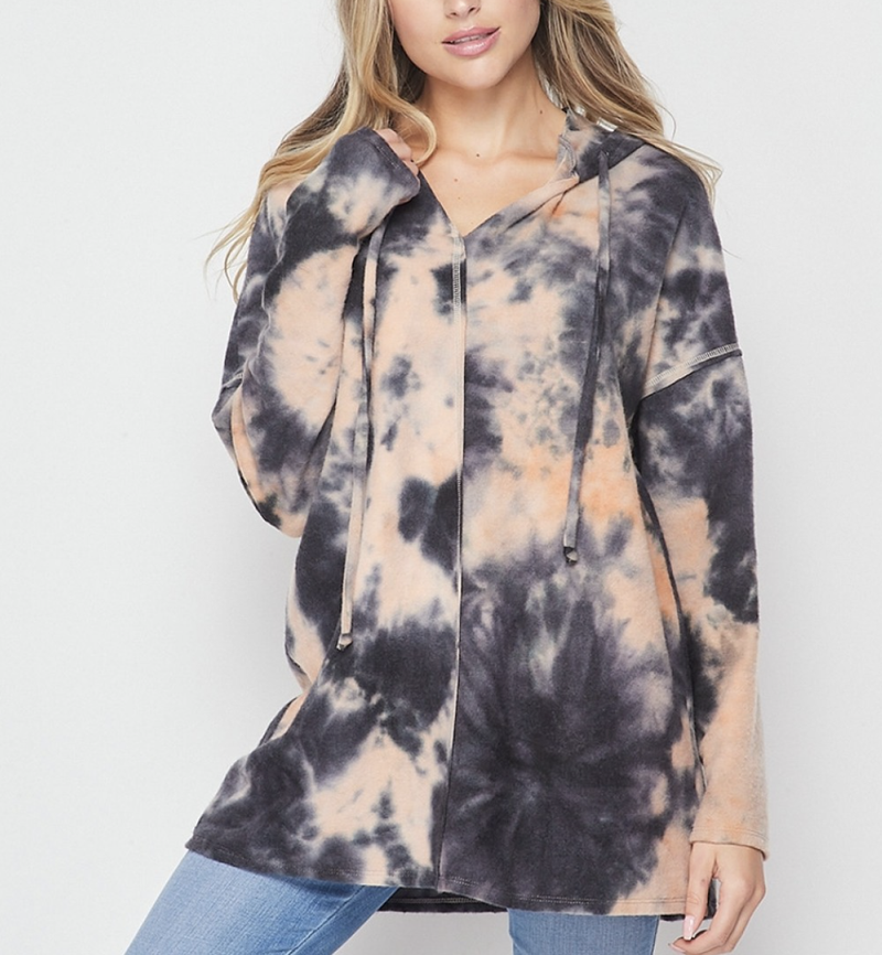 Long Sleeve Autumn Tie Dye Hoodie Top