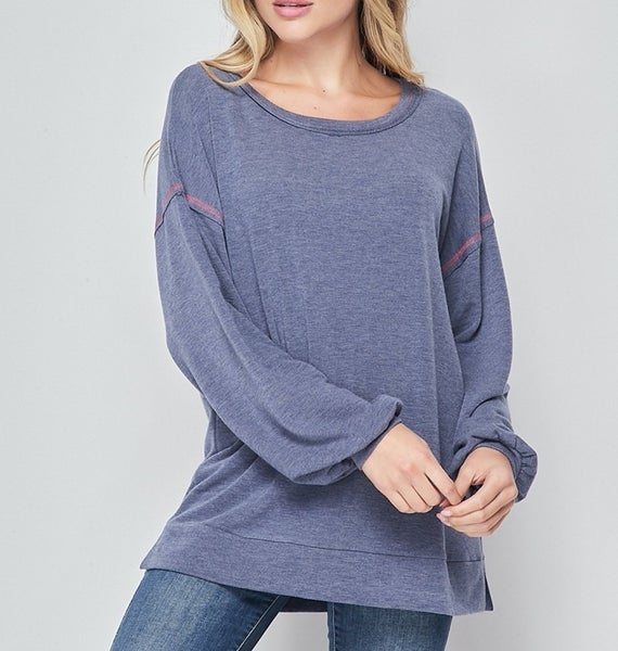 Long Sleeve Solid Top with Stitch Detail