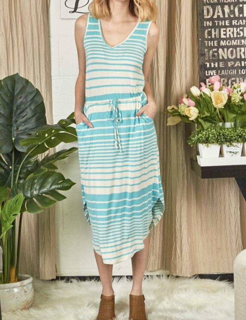 Sleeveless V Neck Striped Midi Dress