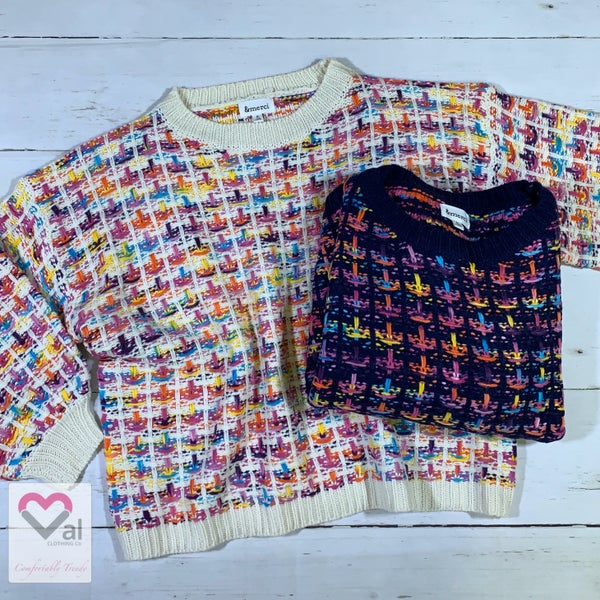 Multicolored Long Sleeve Knit Pullover Sweater