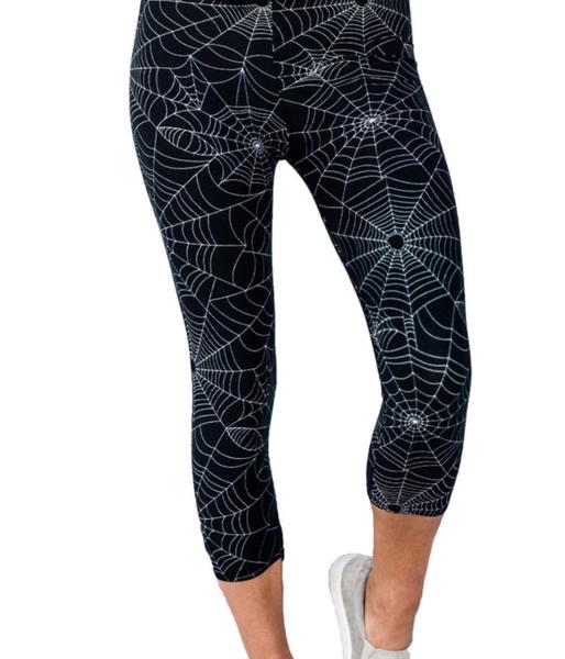 Capri Length Spiderweb Printed Leggings
