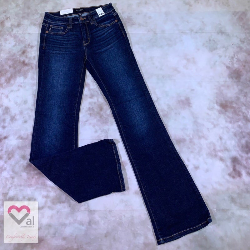 Judy Blue Mid Rise Whiskered Dark Bootcut Jeans