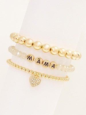 Mama Metal Glass Bead And Pave Cyrstal Haert Charm 3 Stretch Bracelets