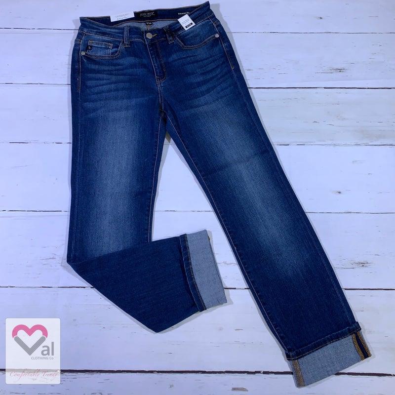 Judy Blue Mid Rise Dark Wash Straight Leg Cuffed Jeans