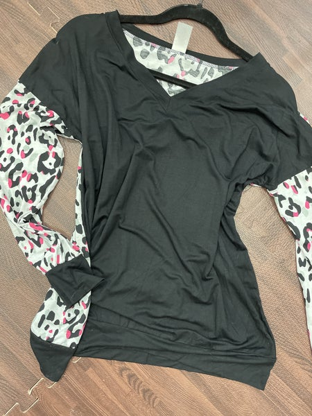 Long Leopard Sleeve Solid Top with Back Contrast