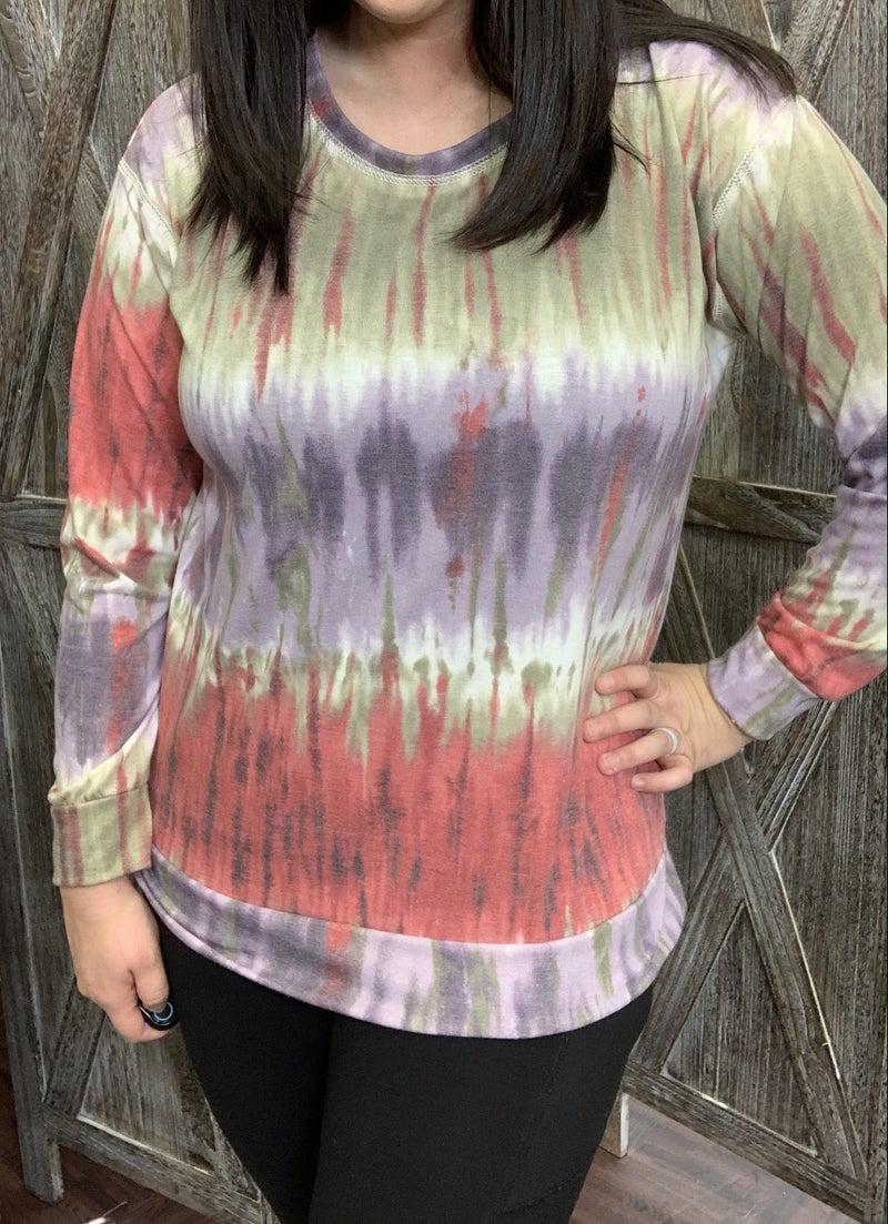 Long Sleeve Multi Tie Dye Print Top