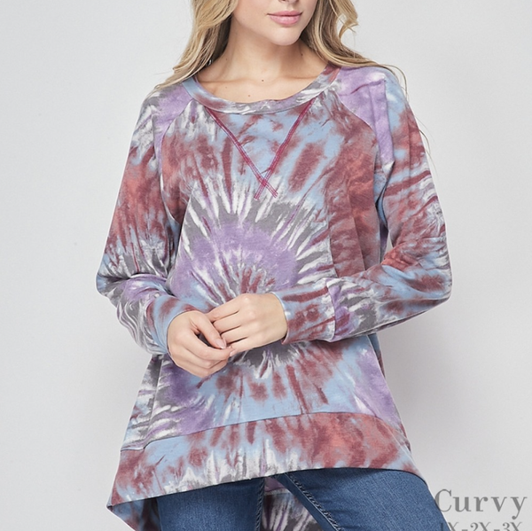 Long Sleeve Round Tie Dye High Low Top