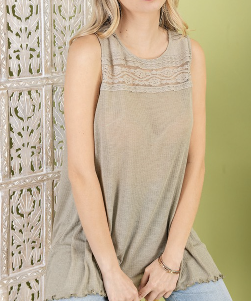 Sleeveless Ribbed Top with Lace Detail