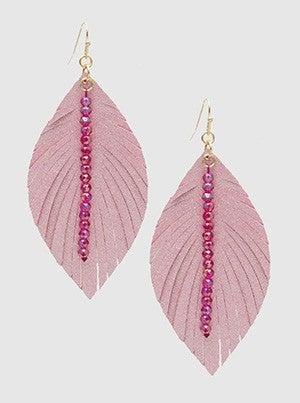 Leatherette Leaf Shape With Seed Bead Bar Dangle Drop Earrings