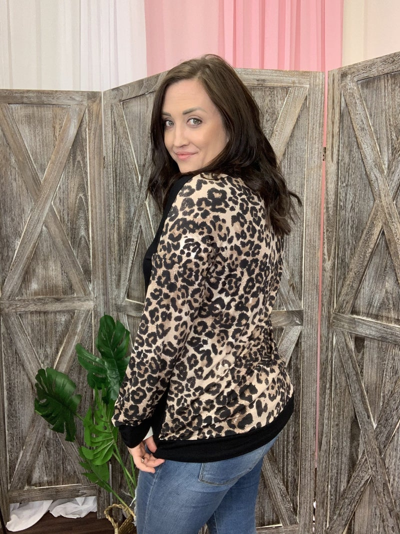 Long Leopard Sleeve Solid Top with Leopard Back