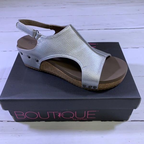 Corkys Volta Platform Sandal in Silver