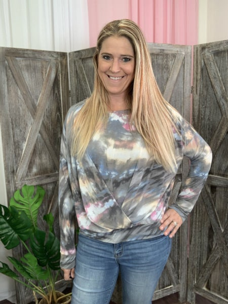 Long Sleeve Tie Dye Top with Trim Gathering