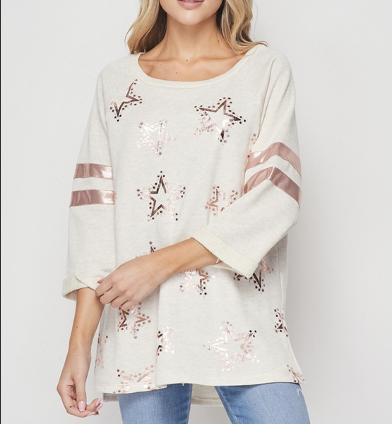 3/4 Sleeve Metallic Star Print Top with Stripe Detail