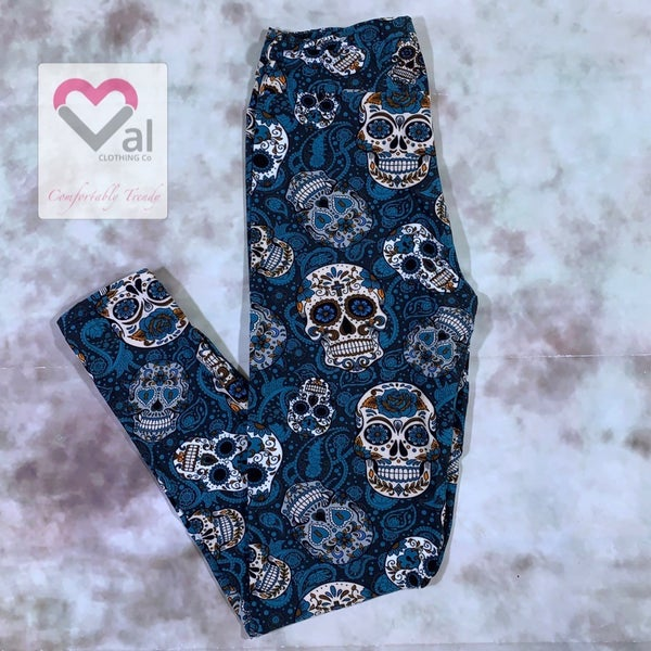 Blue and Grey Sugar Skull Printed Leggings