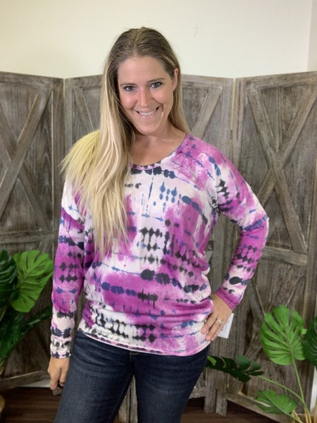 Long Sleeve Scoop Neck Tie Dye Top