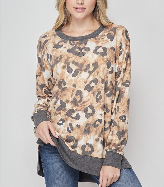 Long Sleeve Leopard and Tie Dye Top with Solid Trim Detail