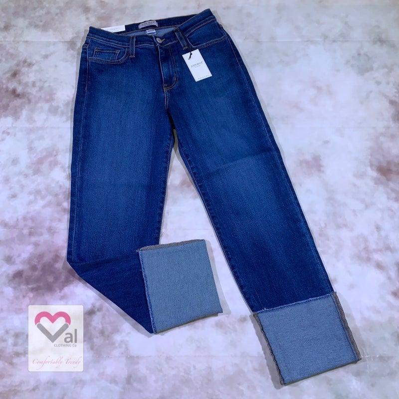 Judy Blue Mid Leg Raw Hem Cuffed Jeans