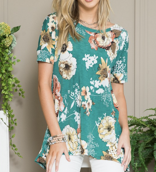 Short Sleeve Floral Top with Crisscross Back Detail