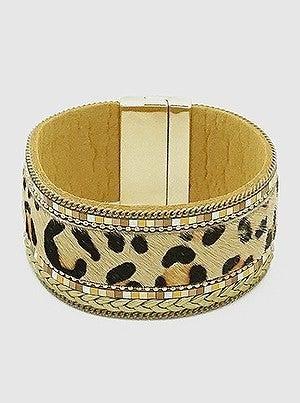 Leopard Animal Print Leatherette Magnetic Clasp Bracelet
