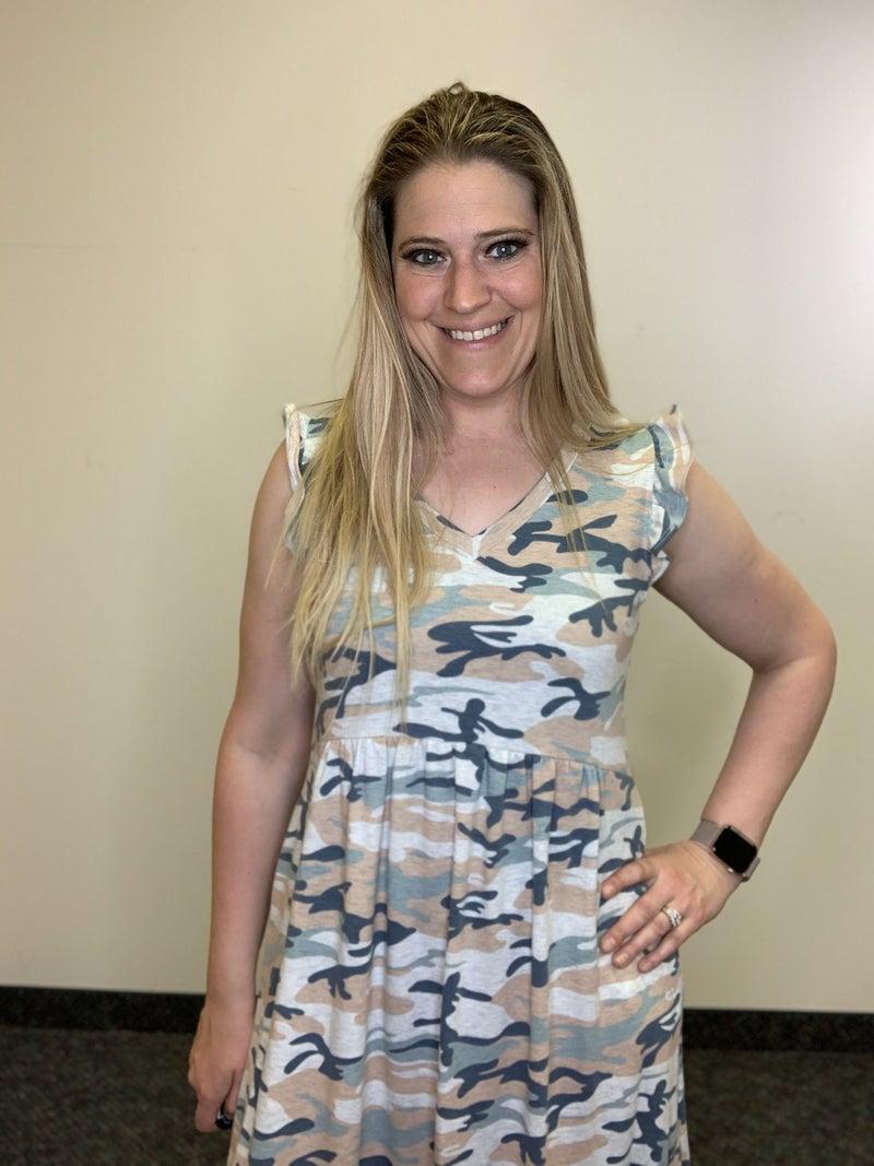 Short Ruffle Sleeve Camo Print Maxi Dress