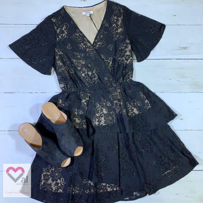 Short Sleeve Lace Ruffle Dress